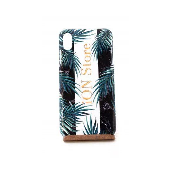 CR - iPhone XS Max Páfrány mintás iON Store feliratos műanyag telefontok