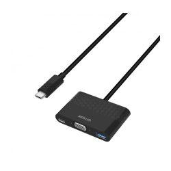 Astrum DA610 USB-C 3.1 - VGA + USB-C + USB 3in1 adapter ezüst