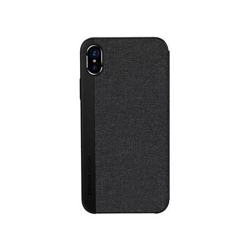 JOYROOM - JR-BP357 iPhone X/XS Leon Series Szövet borítású könyv tok - Fekete
