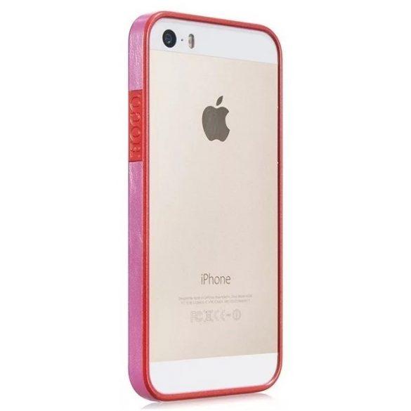 Hoco - Fusion series bőr mintás keretű iPhone 5/5s/se bumper tok - piros