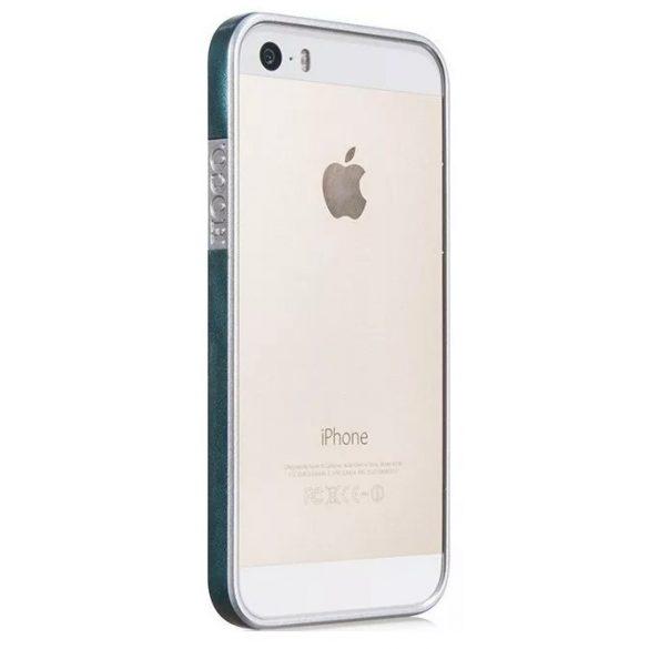 Hoco - Fusion series bőr mintás keretű iPhone 5/5s/se bumper tok - kék