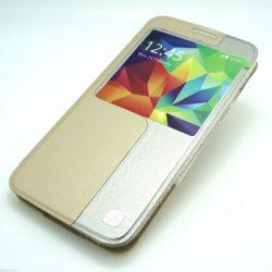 Hoco - Original series bőr ablakos Samsung S5 könyv tok - arany