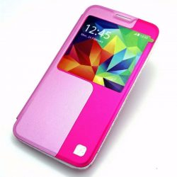 Hoco - Original series bőr ablakos Samsung S5 könyv tok - pink