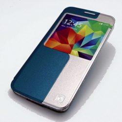 Hoco - Original series bőr ablakos Samsung S5 könyv tok - kék