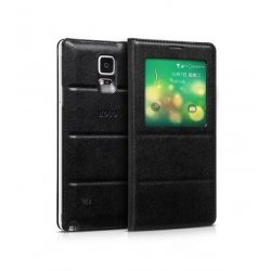 Hoco - Original series bőr ablakos Samsung Note4 könyv tok - fekete