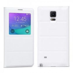 Hoco - Original series bőr ablakos Samsung Note4 könyv tok - fehér