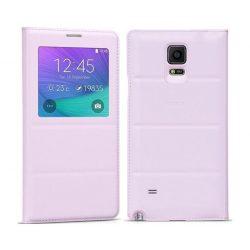 Hoco - Original series bőr ablakos Samsung Note4 könyv tok - pink