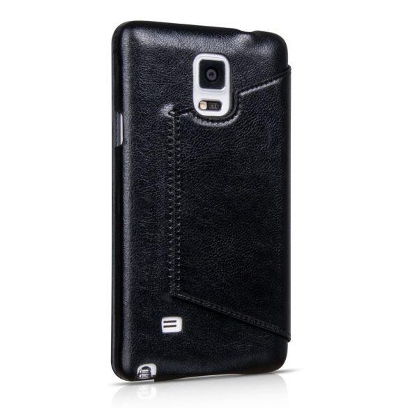 Hoco - Crystal series classic bőr magnetic sleep Samsung Note4 könyv tok - fekete