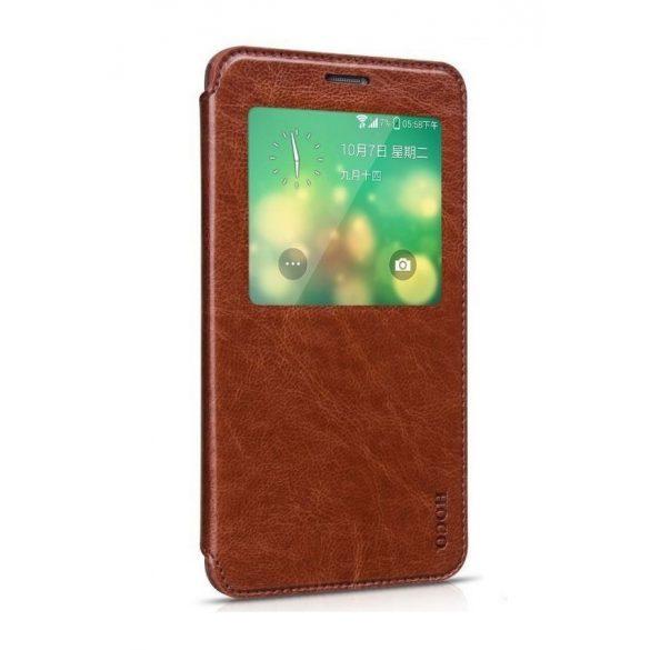 Hoco - Crystal series classic bőr magnetic sleep Samsung Note4 könyv tok - barna