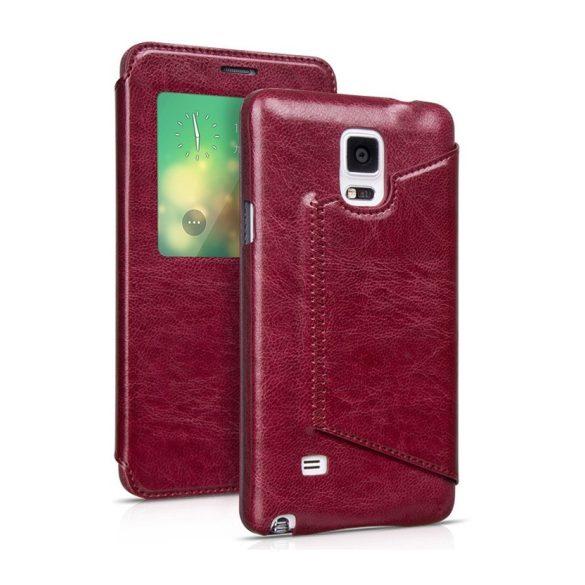 Hoco - Crystal series classic bőr magnetic sleep Samsung Note4 könyv tok - bor vörös