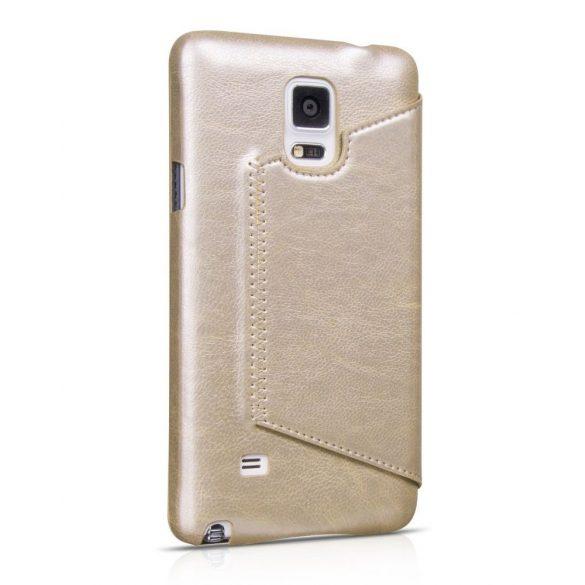 Hoco - Crystal series classic bőr magnetic sleep Samsung Note4 könyv tok - arany