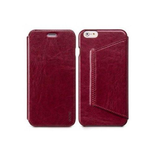 Hoco - Crystal series classic bőr iPhone 6plus/6splus könyv tok - bor vörös