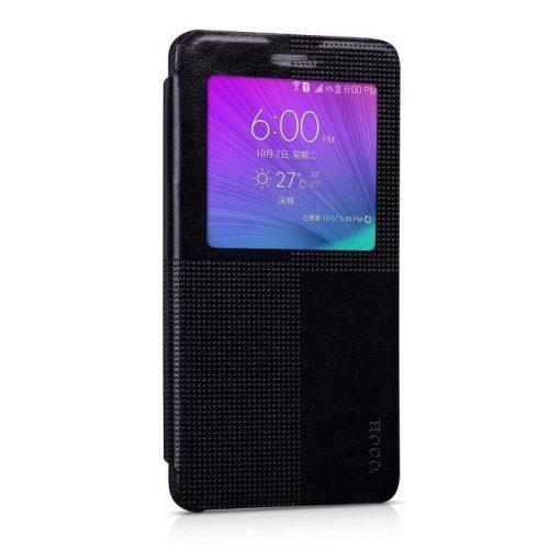 Hoco - Crystal series fashion bőr magnetic sleep Samsung Note4 könyv tok - fekete
