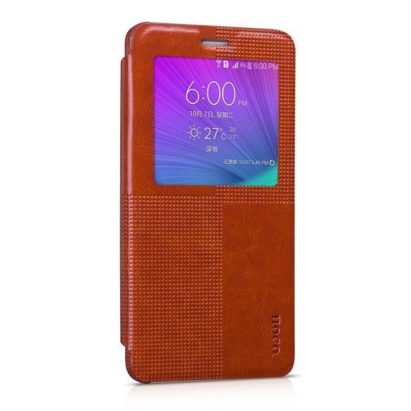 Hoco - Crystal series fashion bőr magnetic sleep Samsung Note4 könyv tok - barna