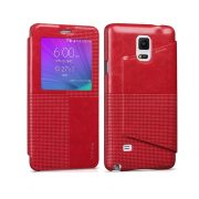 Hoco - Crystal series fashion bőr magnetic sleep Samsung Note4 könyv tok - piros