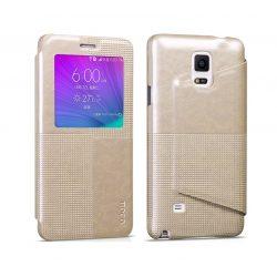 Hoco - Crystal series fashion bőr magnetic sleep Samsung Note4 könyv tok - arany