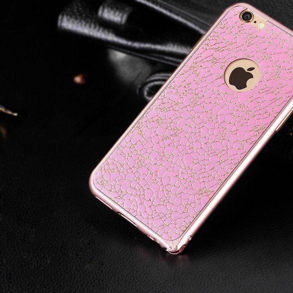 Hoco - Blade series bőr betétes csatos rögzítésű iPhone 6/6s fém keret (bumper) - pink