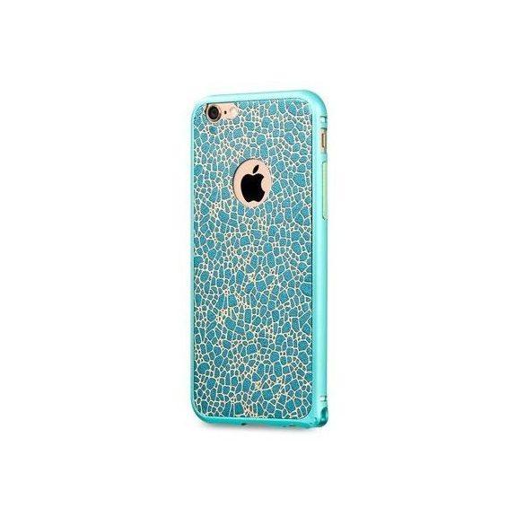 Hoco - Blade series bőr betétes csatos rögzítésű iPhone 6/6s fém keret (bumper) - kék