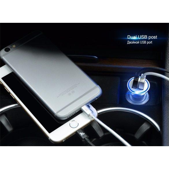 Hoco - UC204 autós szivargyújtó elosztó full védelemmel 2xUSB (2,4A) - fehér