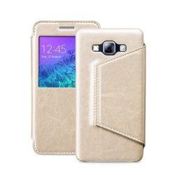 Hoco - Crystal series classic bőr magnetic sleep Samsung A7 (2015) könyv tok - arany