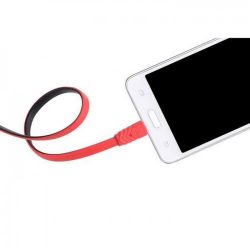 Hoco - UPM09 lapos design micro usb adat/töltő kábel 120cm - piros