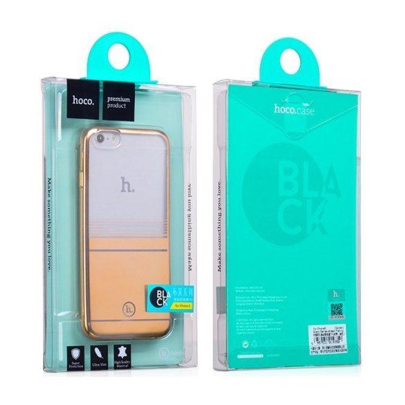 Hoco - Black series matt fémhatású bevonattal vízsz. vonalazott iPhone 6/6s tok - arany