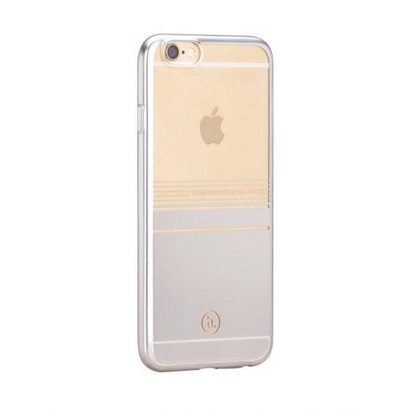 Hoco - Black series matt fémhatású bevonattal vízsz. vonalazott iPhone 6/6s tok - ezüst
