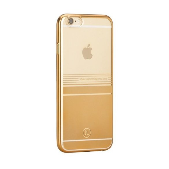 Hoco - Black series matt fémhatású bevonattal vízsz. vonalazott iPhone 6plus/6splus tok - arany