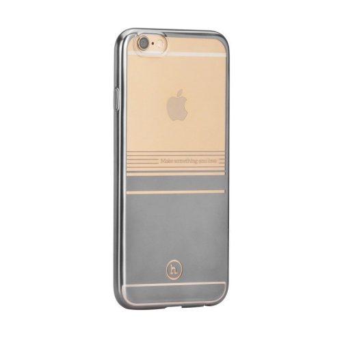 Hoco - Black series matt fémhatású bevonattal vízsz. vonalazott iPhone 6plus/6splus tok - szürke