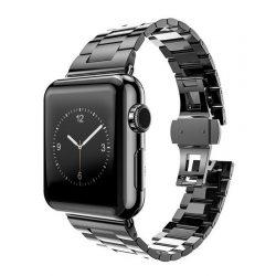Hoco - Grand series 3 soros vékonyított fém rozsdamentes acél óraszíj Apple Watch 38/40 mm - fekete