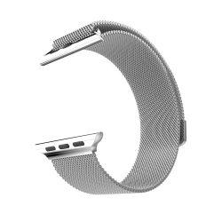 Grand series Milánói fémszövet rozsdamentes acél óraszíj Apple Watch 42/44 mm - ezüst