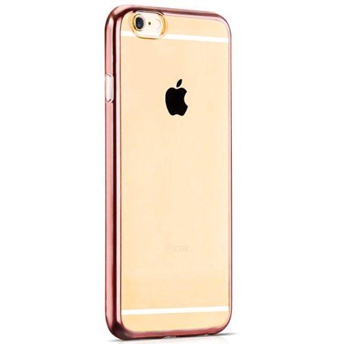 Hoco - Black series fényes fémes keretes iPhone 6/6s tok - rozéarany
