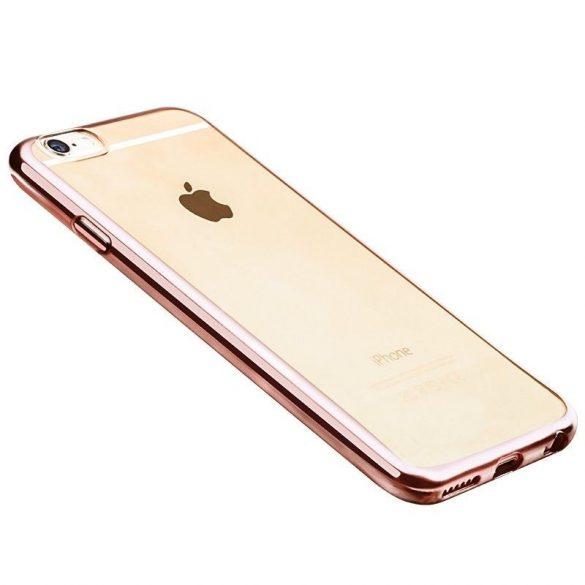 Hoco - Black series fényes fémes keretes iPhone 6plus/6splus tok - rozéarany