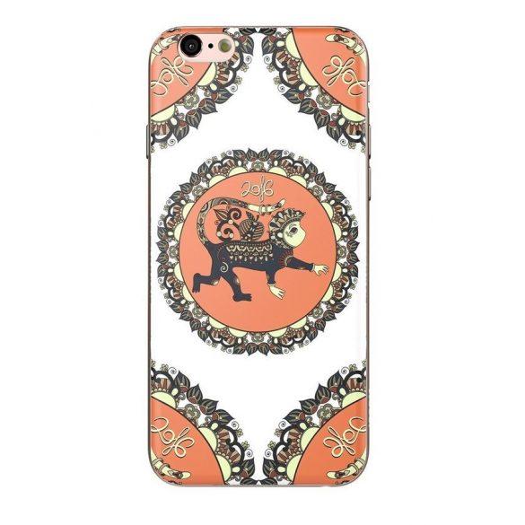 Hoco - Element series Majom éve - bőség mintás iPhone 6/6s tok - barna - fehér