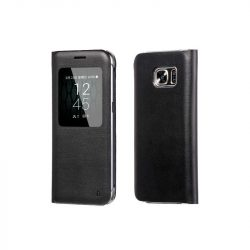 Hoco - Original series bőr ablakos Samsung S7 könyv tok - fekete