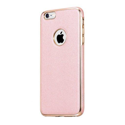 Hoco - Glint series bőrbetétes szilikon iPhone 6Plus/ 6SPlus védőtok fémhatású széllel - rozéarany