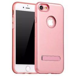 Hoco - Simple series alumínium burkolatú iPhone 7/iPhone 8 védőtok mágneses kitámasztóval - rozéarany
