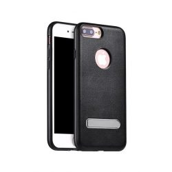 Hoco - Simple series Pago bőr boritású iPhone 7 Plus/iPhone 8 Plus védőtok mágneses kitámasztóval - fekete