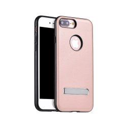 Hoco - Simple series Pago bőr boritású iPhone 7 Plus/iPhone 8 Plus védőtok mágneses kitámasztóval - rozéarany