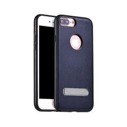 Hoco - Simple series Pago bőr boritású iPhone 7 Plus/iPhone 8 Plus védőtok mágneses kitámasztóval - zafírkék