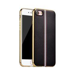 Hoco - Glint classic series bőrhatású TPU iPhone 7/iPhone 8 tok fémhatású széllel - fekete
