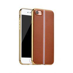 Hoco - Glint classic series bőrhatású TPU iPhone 7/iPhone 8 tok fémhatású széllel - barna