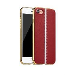 Hoco - Glint classic series bőrhatású TPU iPhone 7/iPhone 8 tok fémhatású széllel - piros