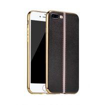 Hoco - Glint classic series bőrhatású TPU iPhone 7 Plus/iPhone 8 Plus tok fémhatású széllel - fekete