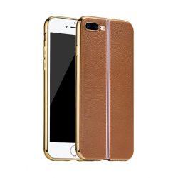 Hoco - Glint classic series bőrhatású TPU iPhone 7 Plus/iPhone 8 Plus tok fémhatású széllel - barna