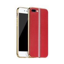 Hoco - Glint classic series bőrhatású TPU iPhone 7 Plus/iPhone 8 Plus tok fémhatású széllel - piros