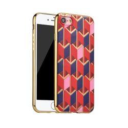 Hoco - Glint fashion series festett mintájú TPU iPhone 7/iPhone 8 tok fémhatású széllel - piros