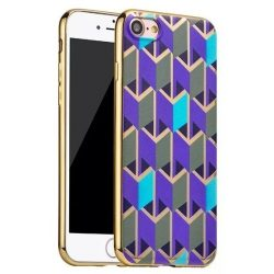 Hoco - Glint fashion series festett mintájú TPU iPhone 7/iPhone 8 tok fémhatású széllel - kék