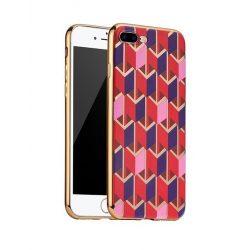 Hoco - Glint fashion series festett mintájú TPU iPhone 7 Plus/iPhone 8 Plus tok fémhatású széllel - piros