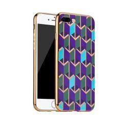 Hoco - Glint fashion series festett mintájú TPU iPhone 7 Plus/iPhone 8 Plus tok fémhatású széllel - kék